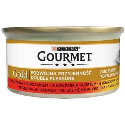 GOURMET GOLD S hovězím a kuřetem 85g dušené a gril.kousky