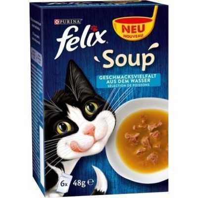 FELIX Soup 8(6x48g) s treskou, tuňákem a platýsem
